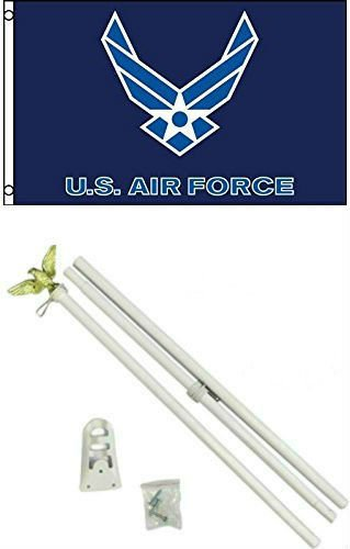 3x5 U.S. Airforce Wings Flag w/ 6' Ft White Flagpole Flag Po