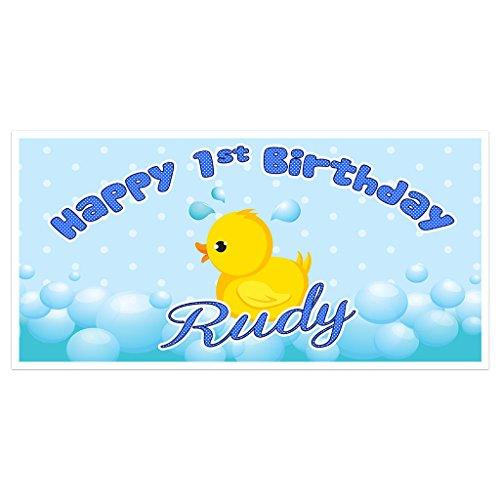Rubber Ducky First Birthday Banner Personalized Backdrop Ducky Personalized Birthday Banner