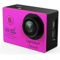Lightdow LD6000 WiFi 1080P HD Sports Action Camera Bundle with DSP:Novatek NT96655 Chip, 2.0-Inch LTPS LCD, 170° Wide Angle Lens and Bonus Battery (Pink+WiFi)