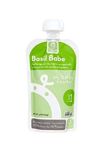 Oh Baby Foods-100% Organic -24 Pack-Basil Babe-Level 1 Baby Food-4Oz
