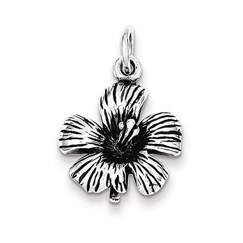 Sterling Silver Antique Hibiscus Flower (Womens Premium Hibiscus Antique)