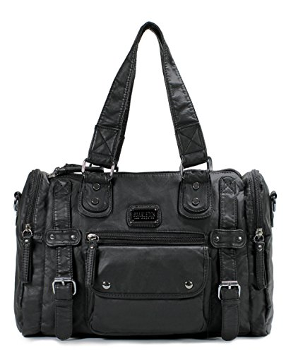 Scarleton Satchel Handbag for Women, Ultra Soft Washed Vegan Leather Crossbody Bag, Shoulder Bag, Tote Purse, Black, H148501