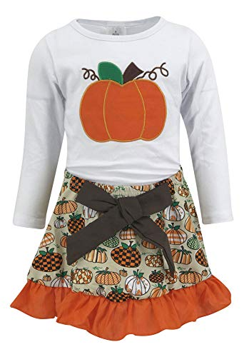Unique Baby Girls 2 Piece Pumpkin Skirt Halloween & Thanksgiving Fall Outfit (2t) Orange ()
