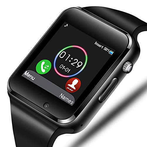 Aeifond Smart Watch Bluetooth Smartwatch Touch Screen Wrist Watch Sports Fitness Tracker with Camera SIM SD Card Slot Pedometer Compatible iPhone iOS Samsung LG Android Men Women Kids (Black)