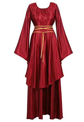 Famajia Womens Halloween Role Cosplay Dress Deluxe Medieval Renaissance Irish Over Victorian Retro Gown Costumes Wine Red 2X-Large