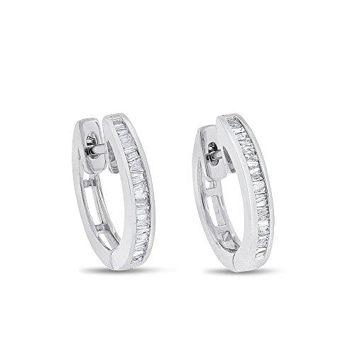 0.40 CT Natural Diamond Baguette Huggie Earrings in Solid 18k White (18k White Gold Huggie Earrings)
