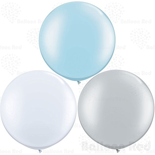 36 Inch Giant Jumbo Latex Balloons (Premium Helium Quality), Pack of 12, Round Shape - Baby Blue + White + Silver (Blue Silver And White Balloons)