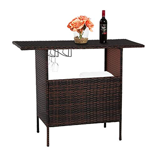 U-MAX Outdoor Rattan Wicker Bar Counter Table Shelves Garden Patio Furniture - Brown ()
