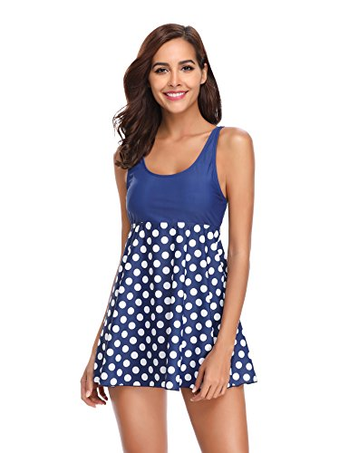 LALAVAVA Womens Two Piece Swimsuits Print Swim Dress with Boyleg Shorts Tankini (Blue Polka Dots, 2XL)