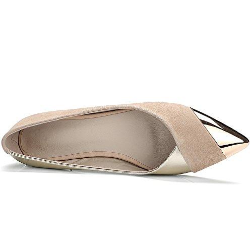 Nueve Siete De Gamuza Cuero Mujeres Puntiagudo Gorro Elegante Hecho A Mano Elegante Ballet Flats Mocasines Albaricoque