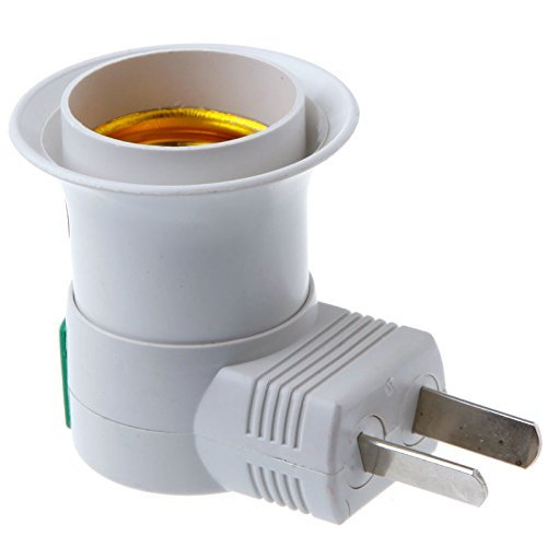 INJUICY E27/E26 Socket Adapter with Switch, Standard US Plug Adapter Holder for Home Light Fixtures Socket Converter ()