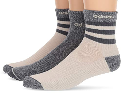 - adidas Men's 3-Stripe High Quarter Socks (3-Pack), Raw White/Onix - Raw White Marl/Onix, 6-12