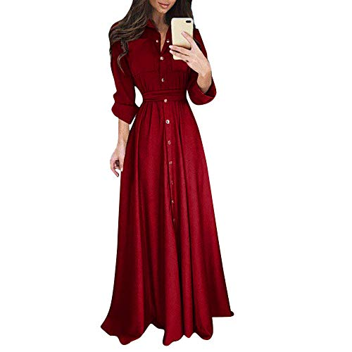 Fashion Slim Tunic Dress KIKOY Women's Long Sleeve Solid Casual Bodycon Dress Wine -