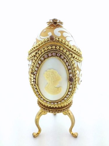 - Real Goose Egg with White Cameo Bejeweled Keepsake Picture Frame Retired 2005