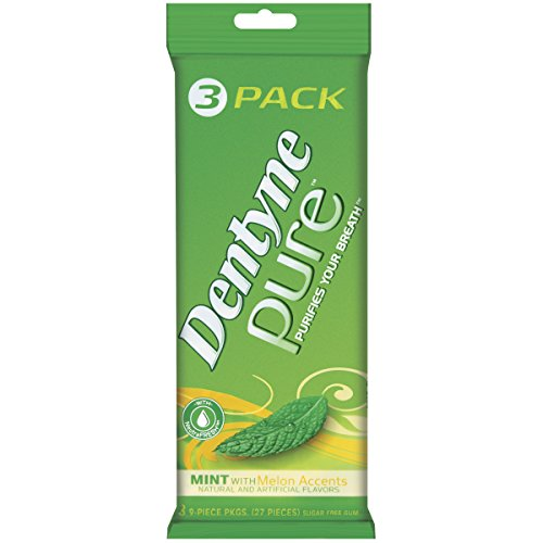 Dentyne Pure Gum, Mint with Melon Accents, 3-Count Packs (Pack of 5)