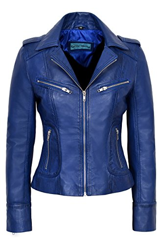 Rider Ladies Blue Washed Biker Motorcycle Style Soft Real Napa Leather Jacket 9823