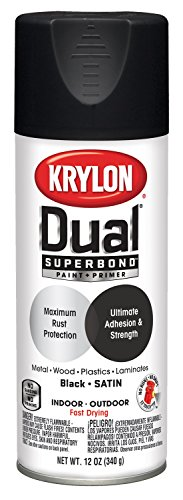 Krylon K08823007 'Dual' Superbond Paint and Primer, Satin Black, 12 (Krylon Satin)