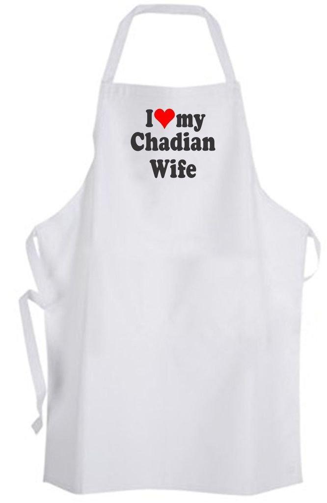 I Love my Chadian Wife – Adult Size Apron – Wedding Marriage Husband