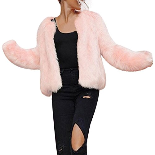 (FAPIZI Women Winter Coat Faux Fur Warm Long Sleeve Waistcoat Jacket Outerwear Pink (Pink, S))