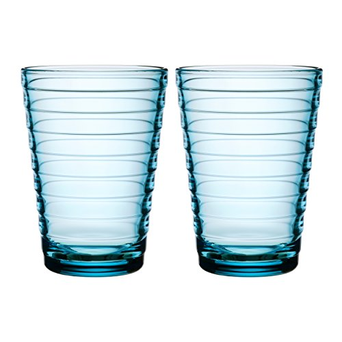 Iittala Aino Aalto Water Glass, 2-pc Set, Drinking Glass, Juice Glass, Glass, Light Blue, 330 ml, 1008553
