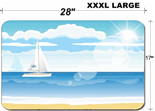 Liili Large Table Mat Non-Slip Natural Rubber Desk Pads IMAGE ID: 25236767 Sea beach with a boat on the horizon for summer (Best Liili Nature Boas)