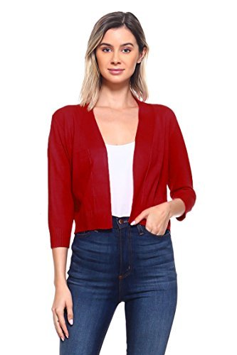 olid Colored Open Front 3/4 Sleeve Cardigan Red Large ()
