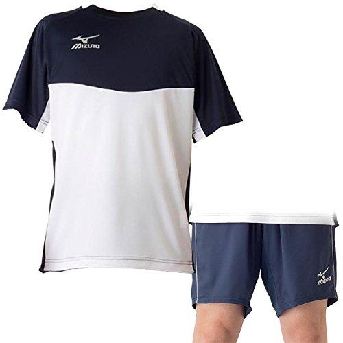 重さ道徳教育スリルミズノ(MIZUNO) フィールドシャツ&パンツ 上下セット(ホワイトドレスネイビー/ドレスネイビー) P2MA7044-01-P2MD7062-14 ホワイトDネイビー/Dネイビー S