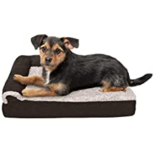 Furhaven Pet Dog Bed   Deluxe Memory Foam Two-Tone Plush Faux Fur & Suede L Shaped Chaise Lounge Living Room Corner Couch Pet Bed w/ Removable Cover for Dogs & Cats, Espresso, Small