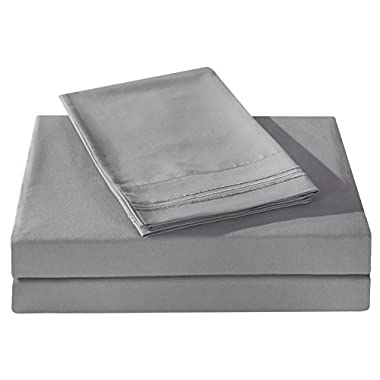 Honeymoon 1800 Brushed Microfiber Embroidered Bed Sheet Set, Ultra Soft, Queen - Gray