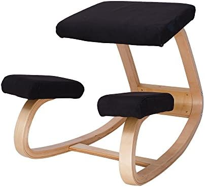 Ergonomic Kneeling Chair Better Posture Kneeling Stool for Body Shaping and Relieveing Stress, Home and Office Wooden Orthopedic Stool Natural