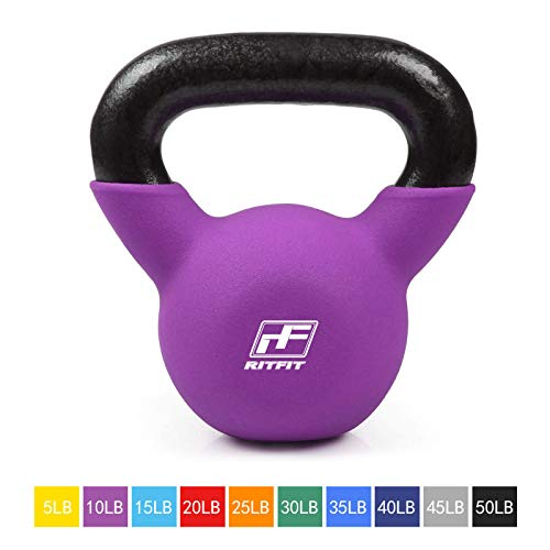 RitFit Neoprene Coated Solid Cast Iron Kettlebell - Great for Full Body Workout, Cross-Training, Weight Loss & Strength Training (5/10/15/20/25/30/35/40/45/50 LB) (10LB(Purple))