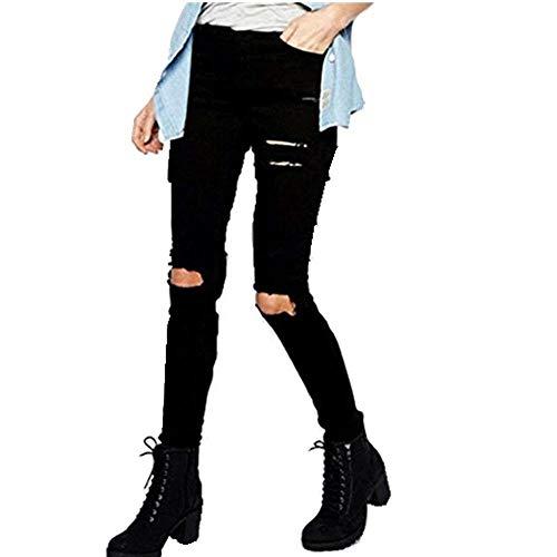 Mezclilla Largos De Rasgada Jeans Casual Vaqueros Ropa Adelina Rodilla Delgado Pantalones Schwarz Señoras Lápiz Skinny fqv1ZAX
