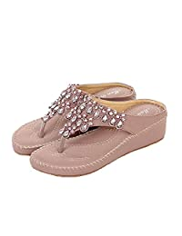 Doncielo Flip Flop Sandals Shoes Women Summer Wedge Heel