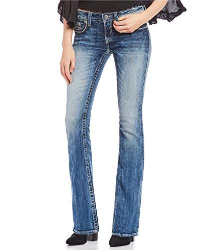 Embellished Bootcut Pocket Jeans - Vigoss Women's Chelsea Embellished Double-V Pocket Boot Cut Jeans (Medium Wash, 25)