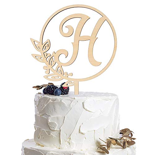 Letter H Personalized Initial Wood Cake Topper Monogram Wedding Anniversary Birthday Vow Reveal Party Decoration -
