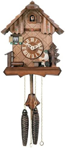 River City Clocks One Day Chalet Style Cuckoo Clock with Beer Drinker Raising His Mug – 9 Inches Tall – Model 12-09P