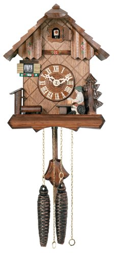 River City Clocks One Day Chalet Style Cuckoo Clock with Beer Drinker Raising His Mug - 9 Inches Tall - Model # 12-09P