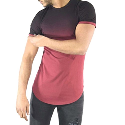 kaifongfu Men's Tops, Gradient Colorblock Print Top Short Sleeve T-Shirt Muscle Blouse Tee(Red,M) (Spandex Woodland Shorts)
