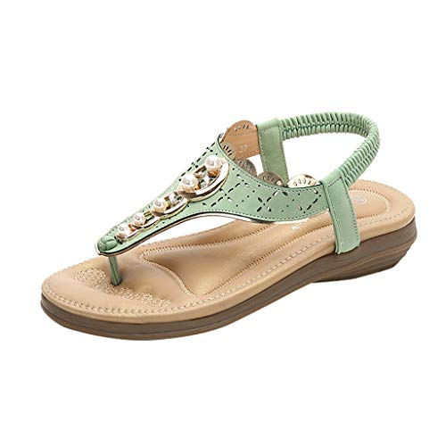 Pengy Woman Bohemian Clip-Toe Sandals Casual Elastic Band Flats Thick-Bottomed Sandals Plus Size Slipper Green ()