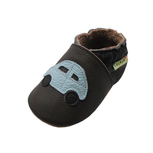 Sayoyo Baby Car Soft Sole Leather Infant Toddler Prewalker Shoes (18-24 Months, DarkBrown)