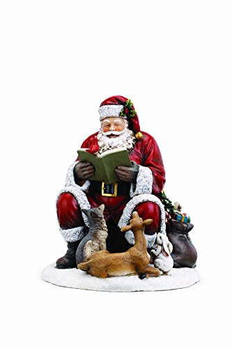 Christmas Santa Claus Figurine - Santa Claus with Animal Friends 10 x 12.5 Inch Resin Christmas Tabletop Figurine