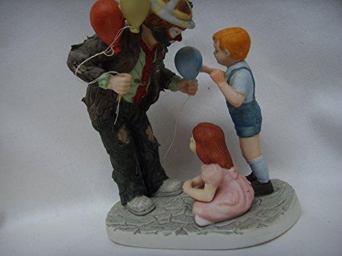 "Flambro Clown Porcelain Ornament Vintage Figurine 6"" Collectible ; Emmett Kelly Jr. Making New Friends"