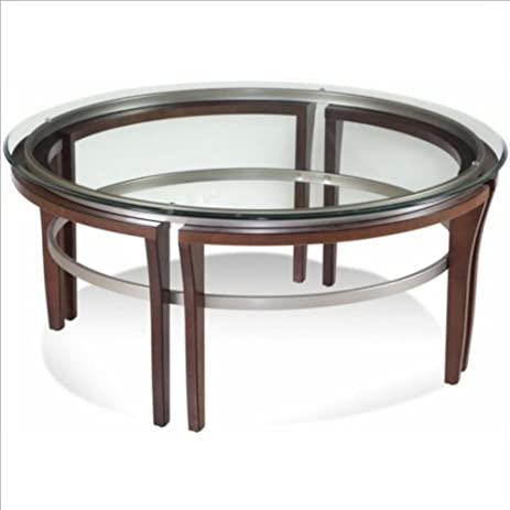 Bassett Mirror Fusion Round Glass Top Cocktail Table In Cappuccino