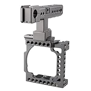 CAMVATE Aluminum Camera Cage for Sony A6500,A6000,A6300,ILCE-6000,ILCE-6300,NEX7 with Conversion Top Handle Grip and 1/4-20 Adapter Hole attach DIY accessories(Silver Grey)