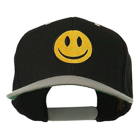 Smiley Face Embroidered Two Tone Cap - Black Silver OSFM - Smiley Black Cap