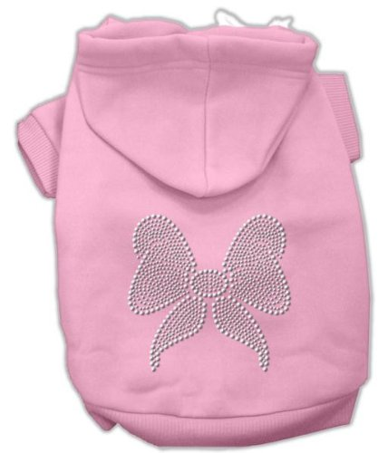 Mirage Pet Products 14-Inch Rhinestone Bow Hoodies, Large, Pink