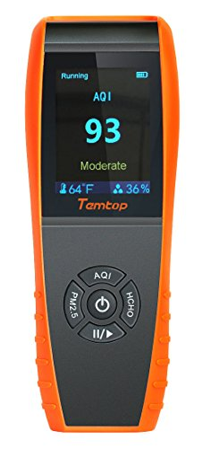 Temtop LKC-1000S Professional Formaldehyde Monitor Temperature and Humidity Detector with PM2.5/PM10/HCHO/AQI/Particles Accurate Testing Air Quality Detector