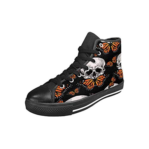 INTERESTPRINT Women's Canvas Sneaker High Top Shoes Skull and Orange Butterfly on Black Background US7