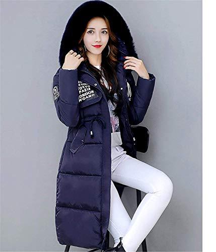 Coulisse Con Blau Manica Cappuccio Abbigliamento Elegante Donna Cerniera Vento Solidi Comodo Colori Giovane Giacca Lunga Cappotti Piumini Invernali Anteriori Tasche Moda 01qpZ