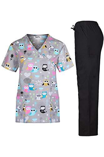 MedPro Women's Printed Medical Scrub Set Mock Wrap Top and Pants Grey White L ()